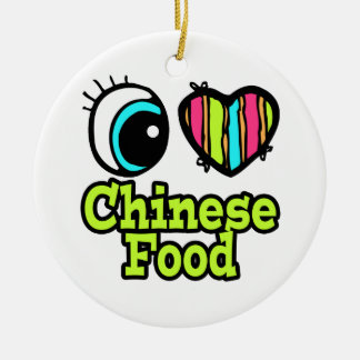 Bright Eye Heart I Love Chinese Food Ceramic Ornament