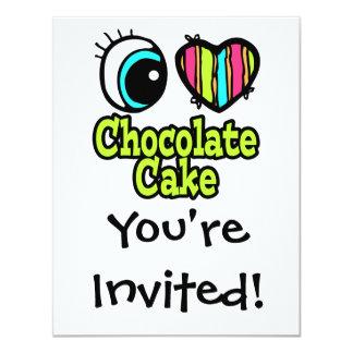Bright Eye Heart I Love Chocolate Cake 4.25x5.5 Paper Invitation Card