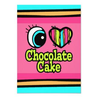 Bright Eye Heart I Love Chocolate Cake 4.5x6.25 Paper Invitation Card