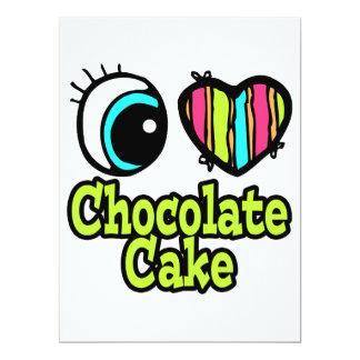 "Bright Eye Heart I Love Chocolate Cake 6.5"" X 8.75"" Invitation Card"