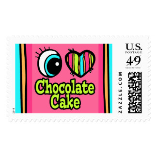 Bright Eye Heart I Love Chocolate Cake Stamp