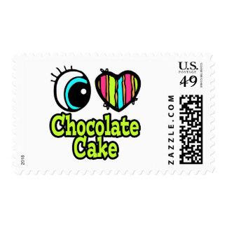 Bright Eye Heart I Love Chocolate Cake Postage Stamp