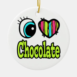 Bright Eye Heart I Love Chocolate Double-Sided Ceramic Round Christmas Ornament
