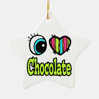 Bright Eye Heart I Love Chocolate Double-Sided Star Ceramic Christmas Ornament