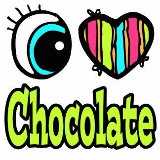 Bright Eye Heart I Love Chocolate Photo Sculpture Keychain