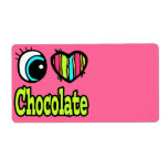 Bright Eye Heart I Love Chocolate Shipping Labels