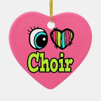 Bright Eye Heart I Love Choir Double-Sided Heart Ceramic Christmas Ornament