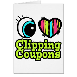 Bright Eye Heart I Love Clipping Coupons Card