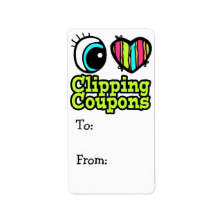 Bright Eye Heart I Love Clipping Coupons Label