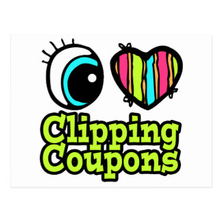 Bright Eye Heart I Love Clipping Coupons Postcard