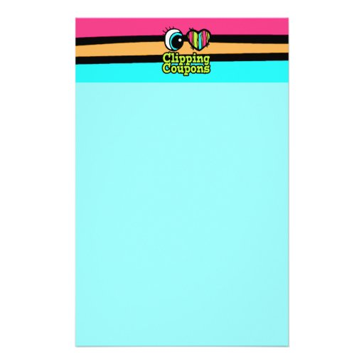 Bright Eye Heart I Love Clipping Coupons Stationery Paper