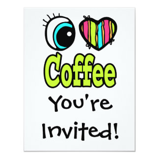 Bright Eye Heart I Love Coffee Personalized Announcement