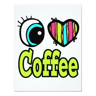 Bright Eye Heart I Love Coffee Personalized Invite