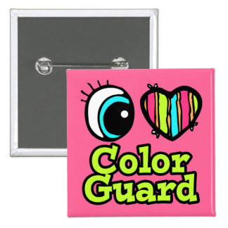 Bright Eye Heart I Love Color Guard Pinback Button