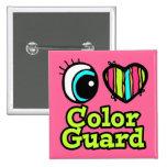 Bright Eye Heart I Love Color Guard Pins