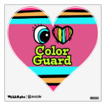 Bright Eye Heart I Love Color Guard Room Stickers