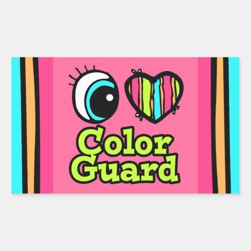 Bright Eye Heart I Love Color Guard Rectangular Sticker