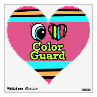 Bright Eye Heart I Love Color Guard Wall Sticker