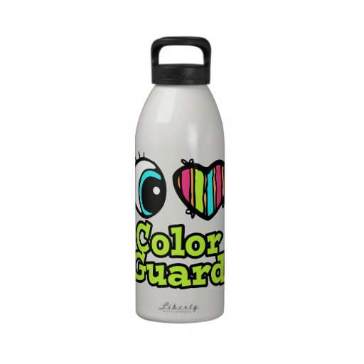 Bright Eye Heart I Love Color Guard Water Bottle