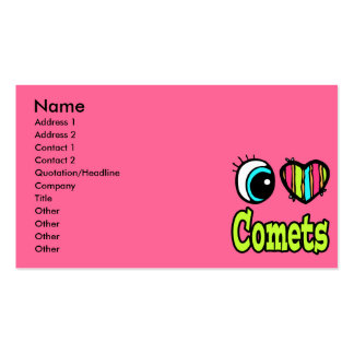 Bright Eye Heart I Love Comets Double-Sided Standard Business Cards (Pack Of 100)