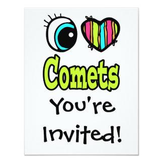 Bright Eye Heart I Love Comets 4.25x5.5 Paper Invitation Card