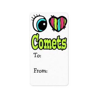 Bright Eye Heart I Love Comets Address Label