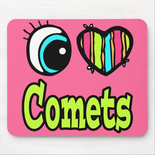 Bright Eye Heart I Love Comets Mouse Pad