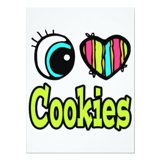 "Bright Eye Heart I Love Cookies 6.5"" X 8.75"" Invitation Card"