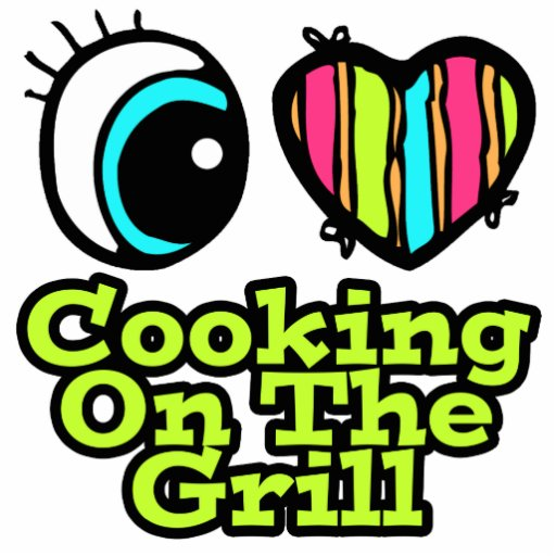Bright Eye Heart I Love Cooking on the Grill Acrylic Cut Out