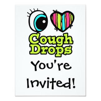 "Bright Eye Heart I Love Cough Drops 4.25"" X 5.5"" Invitation Card"