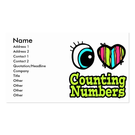 Bright Eye Heart I Love Counting Numbers Double-Sided Standard Business Cards (Pack Of 100)