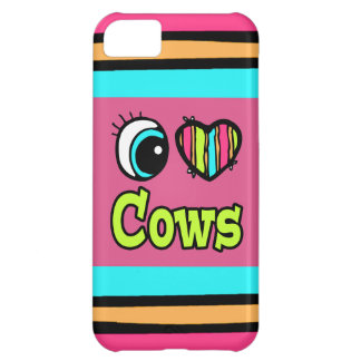 Bright Eye Heart I Love Cows Cover For iPhone 5C