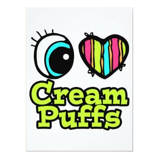 "Bright Eye Heart I Love Cream Puffs 6.5"" X 8.75"" Invitation Card"