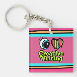 Bright Eye Heart I Love Creative Writing Double-Sided Square Acrylic Keychain