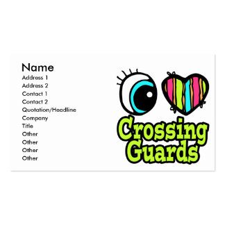 Bright Eye Heart I Love Crossing Guards Business Card Template