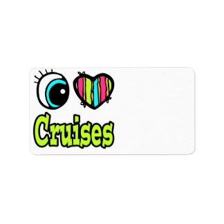 Bright Eye Heart I Love Cruises Custom Address Label