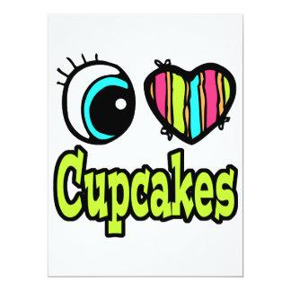 """Bright Eye Heart I Love Cupcakes 6.5"""" X 8.75"""" Invitation Card"""