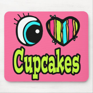 Bright Eye Heart I Love Cupcakes Mouse Pad