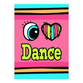 Bright Eye Heart I Love Dance Personalized Invitations