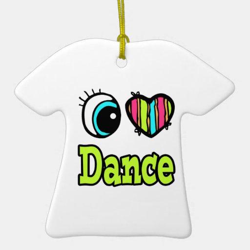 Bright Eye Heart I Love Dance Double-Sided T-Shirt Ceramic Christmas Ornament