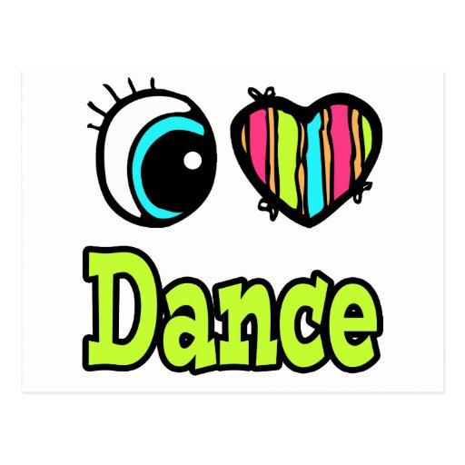 Bright Eye Heart I Love Dance Postcards