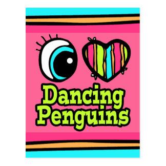 Bright Eye Heart I Love Dancing Penguins Postcard