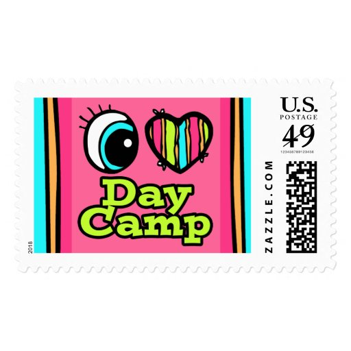 Bright Eye Heart I Love Day Camp Postage Stamp