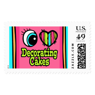 Bright Eye Heart I Love Decorating Cakes Postage Stamp