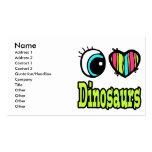 Bright Eye Heart I Love Dinosaurs Business Card Template