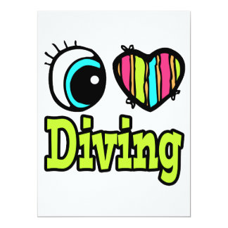 "Bright Eye Heart I Love Diving 6.5"" X 8.75"" Invitation Card"