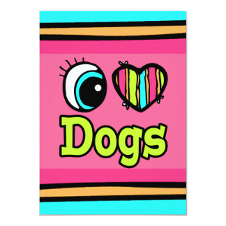 Bright Eye Heart I Love Dogs Personalized Announcements