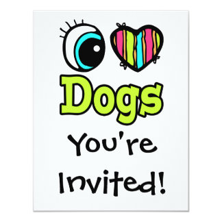 Bright Eye Heart I Love Dogs Custom Announcement