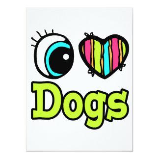 Bright Eye Heart I Love Dogs Custom Invites