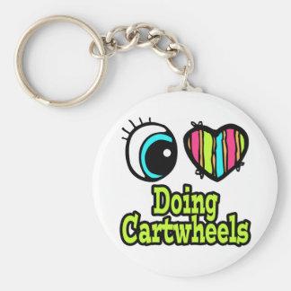 Bright Eye Heart I Love Doing Cartwheels Basic Round Button Keychain